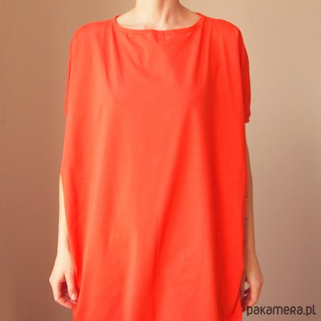 Sukienka krótki rękaw asymetria Koralowa