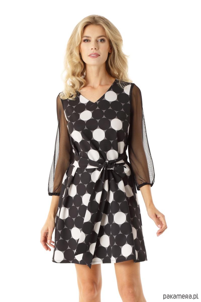 d8118e0556 Sukienka trapezowa z tiulowymi rękawami koła - sukienki - mini ...