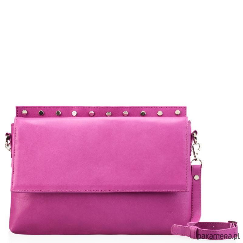 653a1f24050cf Fuksjowa torebka wykończona ćwiekami - torby na ramię - damskie ...