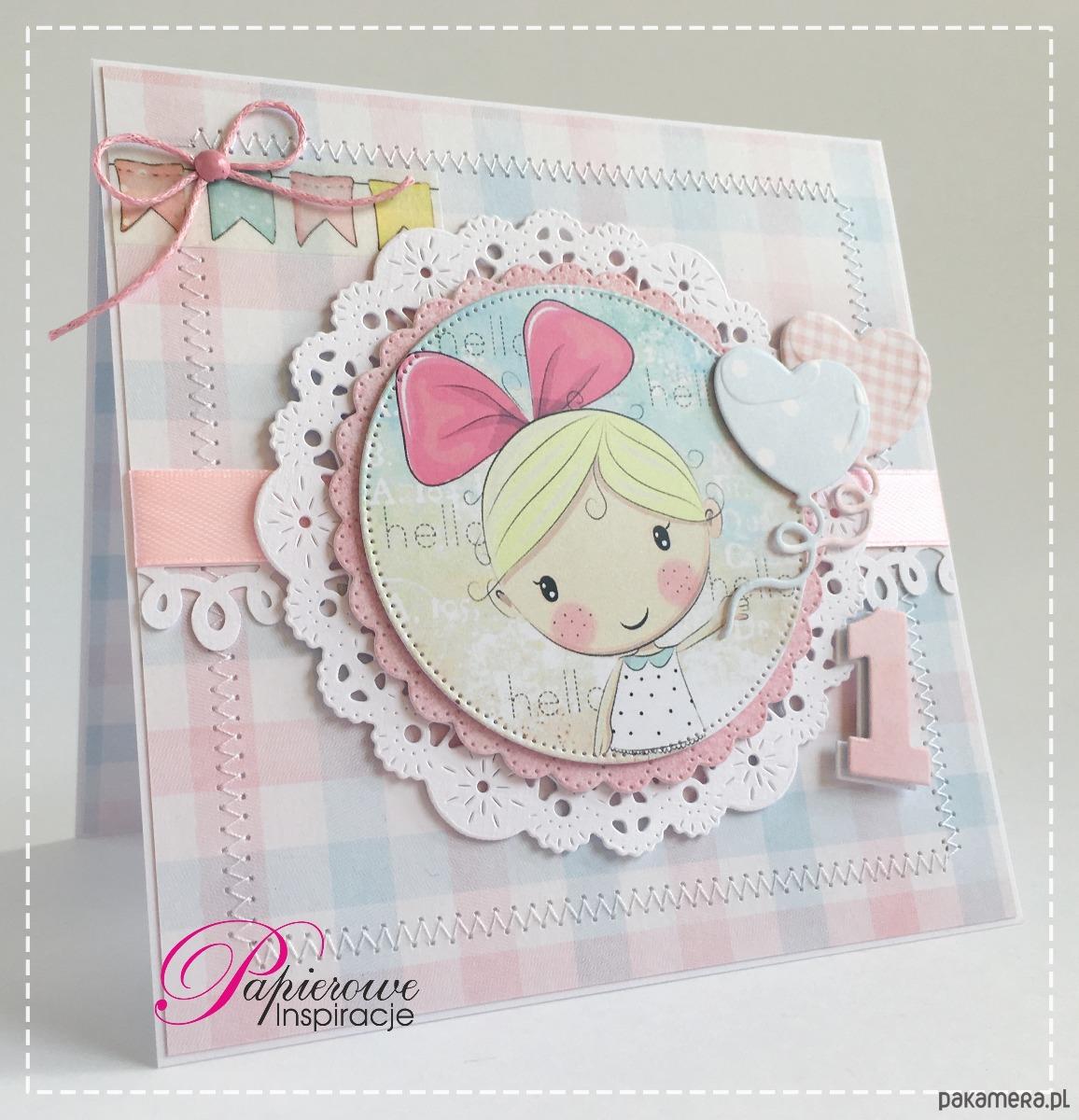 da6a1e8356 kartki okolicznościowe - scrapbooking-Kartka urodzinowa na roczek  dziewczynka