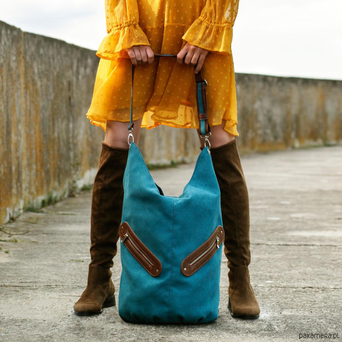8522de8e78089 KOFI - duża torba worek - turkusowa - torby na ramię - damskie - Pakamera.pl