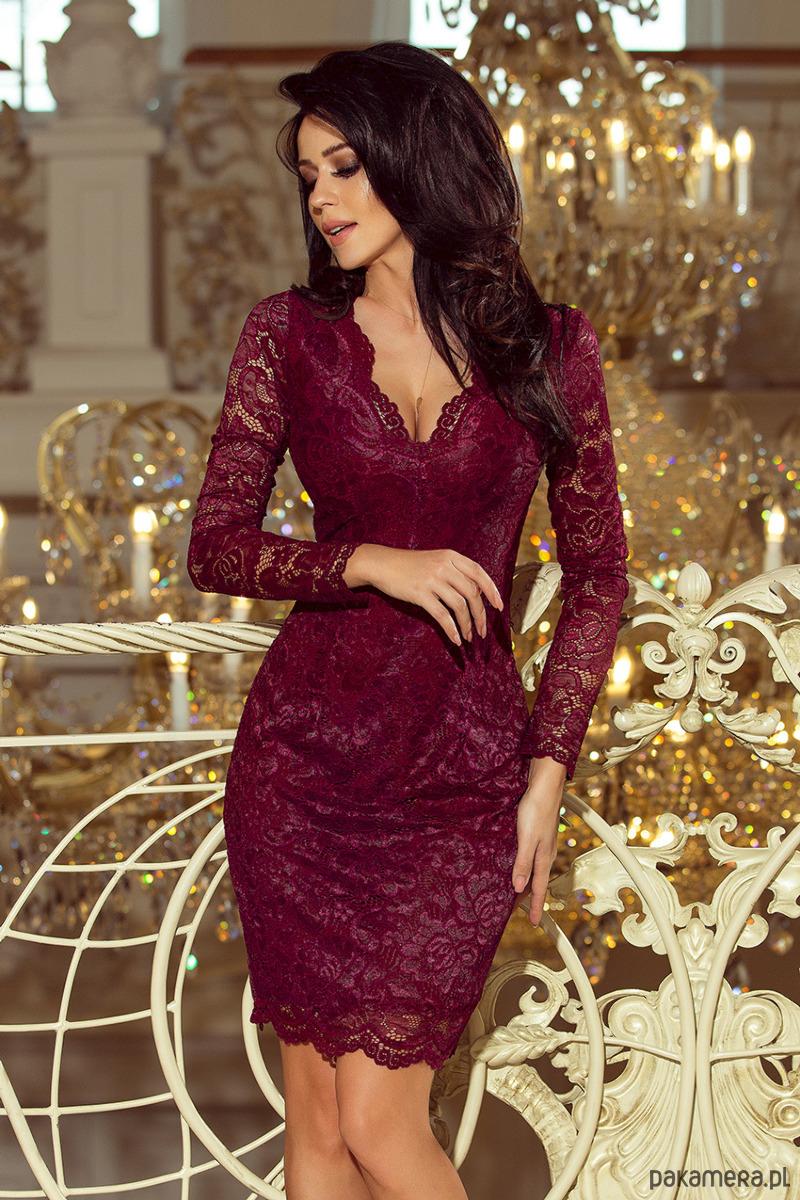 2ad33d289a 170-5 Sukienka koronkowa - bordowa - sukienki - midi - Pakamera.pl