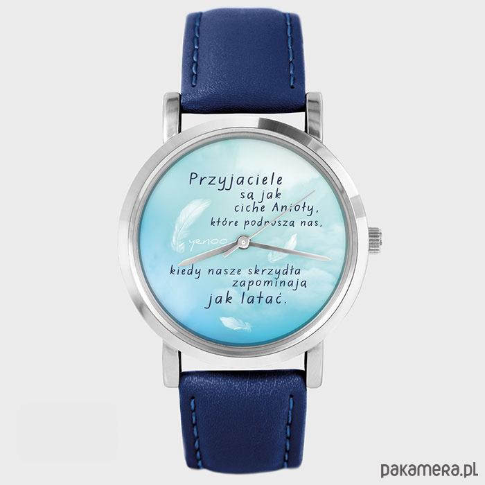 Unikalne Zegarek - Przyjaciele - granatowy, skórzany - zegarki - damskie OB78
