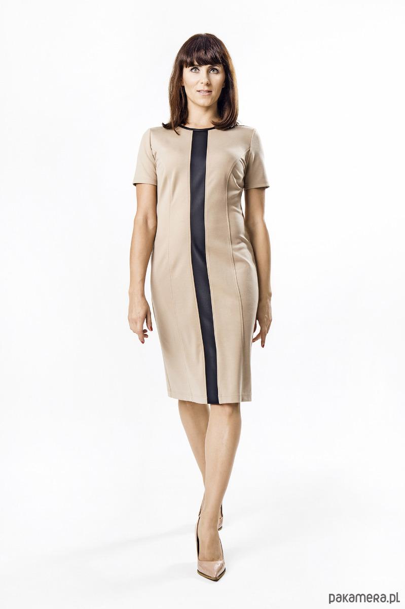 c9b6583a3d Sukienka beżowa z pion.pasem - Darksus Business - sukienki - midi -  Pakamera.pl