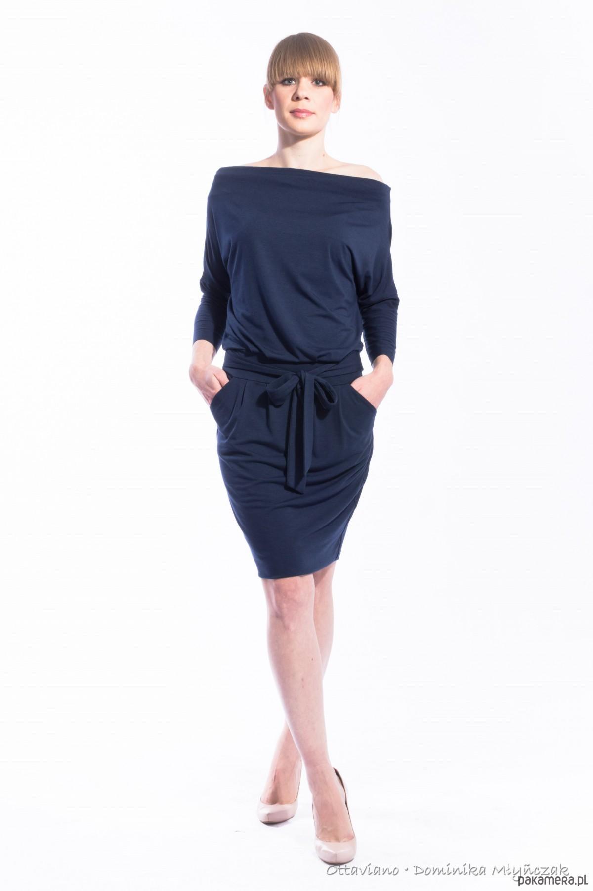 Sukienka HIT Dresowa Granat Podwójny Dół