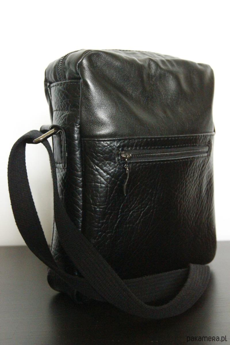 403bc2d7f951a akcesoria - torby i nerki - męskie-Skórzana czarna saszetka męska na ramię  A4