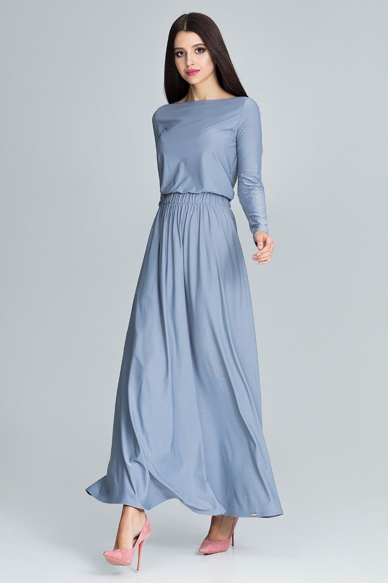 Sukienka maxi m604 szary