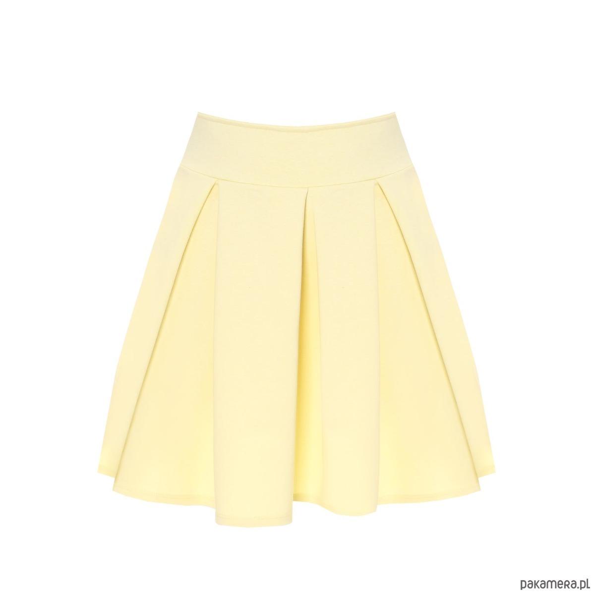 Spódnica rozkloszowana kontrafałdy żółta