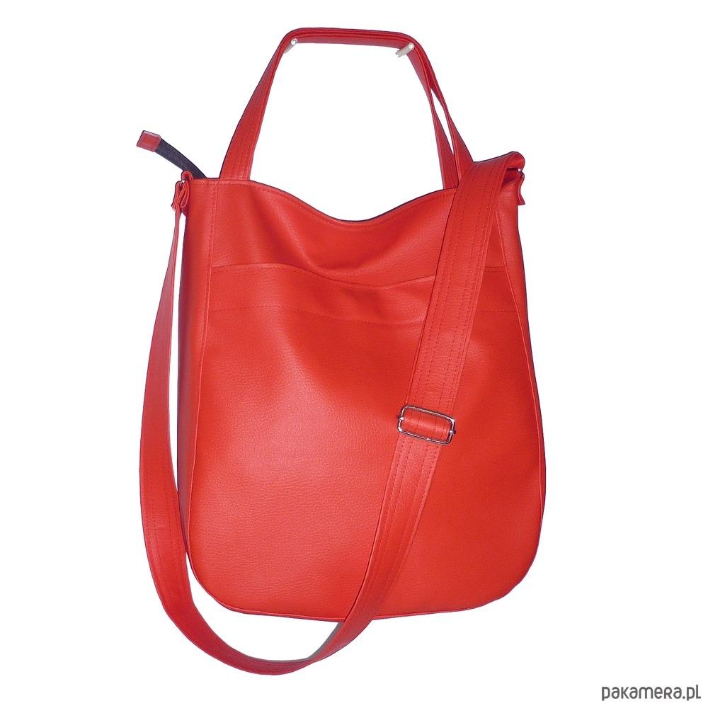 0e72bd989e262 torby na ramię - damskie-czerwona torba hobo, czerwona listonoszka worek
