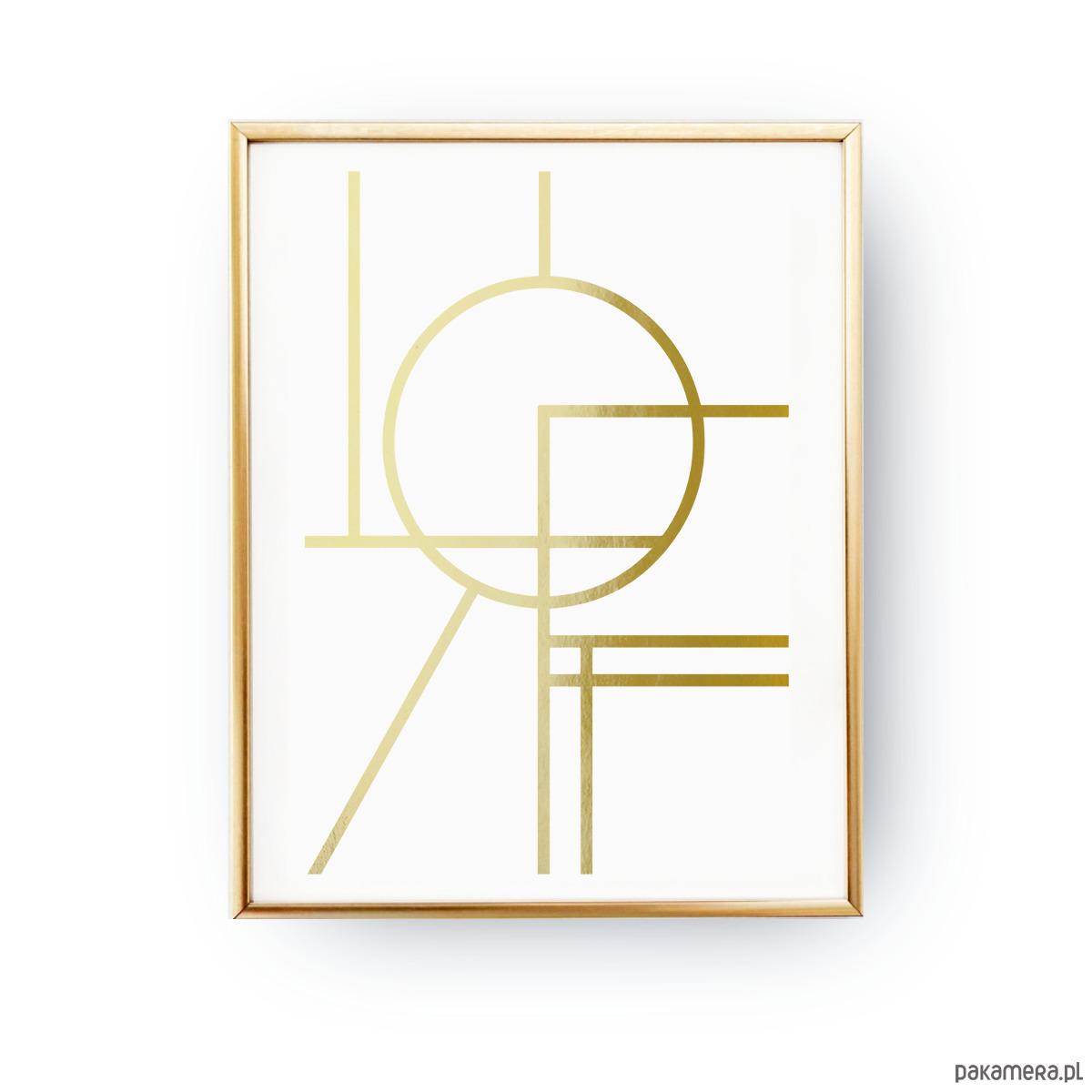 Geometryczne Koło Złoty Druk Pakamerapl