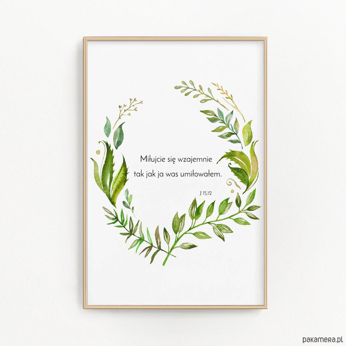 Plakat ślubny Prezent Cytat Biblia Miłujcie Się Pakamerapl