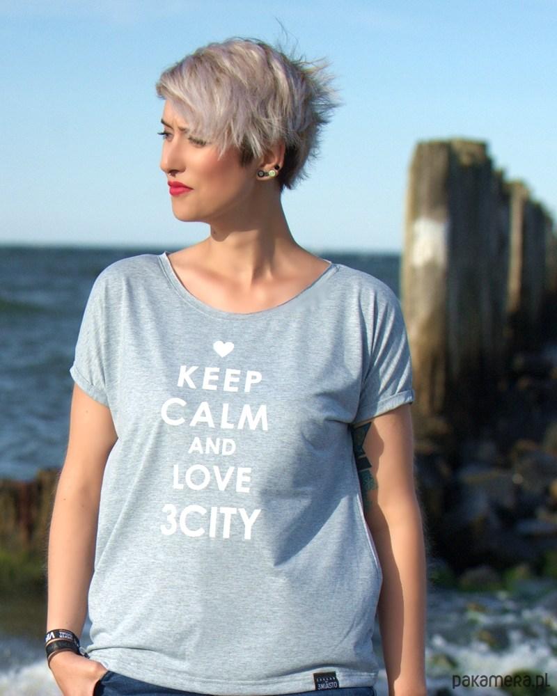 T-shirt oversize błękitny KEEP CALM
