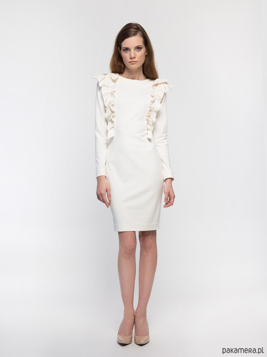 Sukienka ecru YY100093_RAL9001