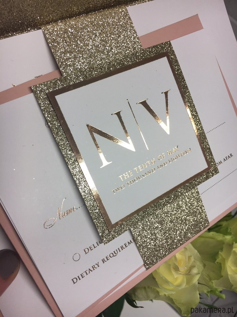 Eleganckie Zaproszenia ślubne Ze Złotym Brokatem ślub