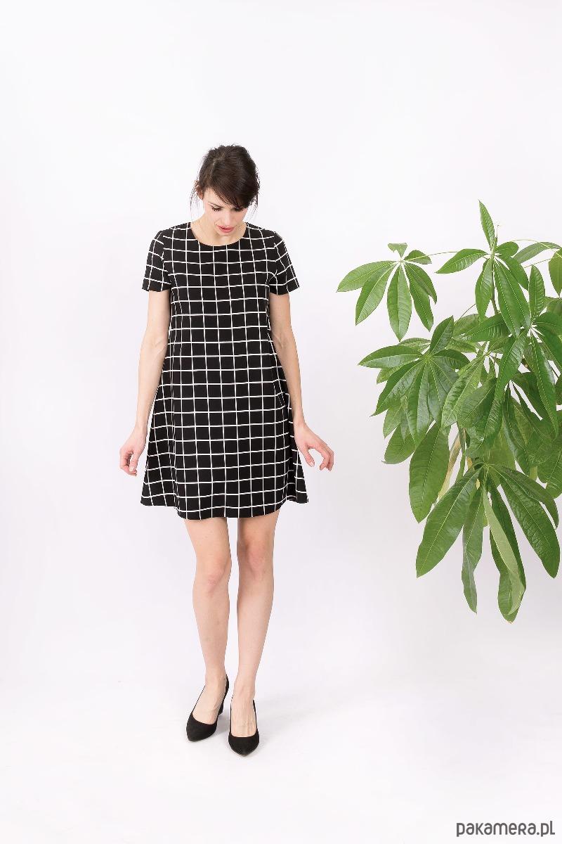 Sukienka trapezowa Kwadratowy węgiel