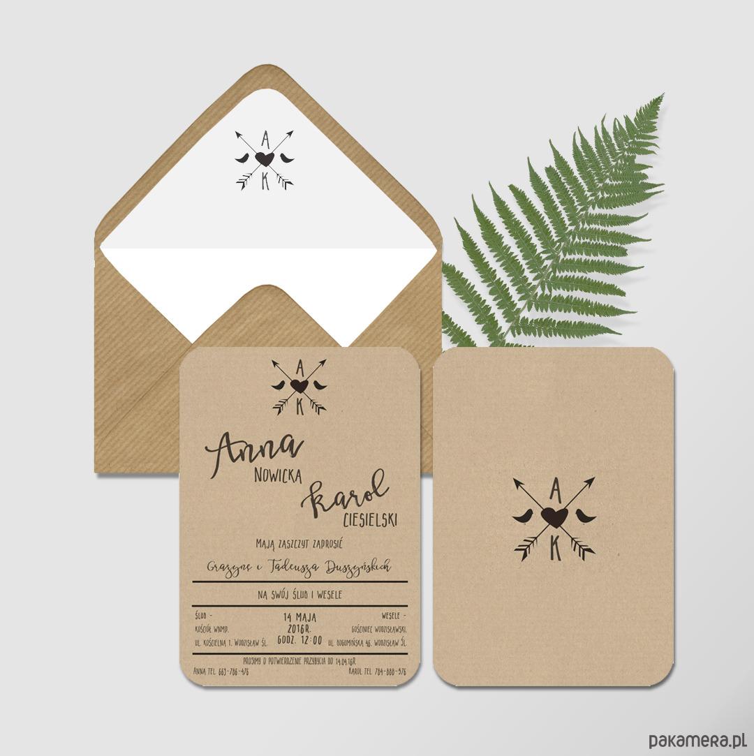 Zaproszenie ślubne Ekologiczne ślub Zaproszenia Kartki