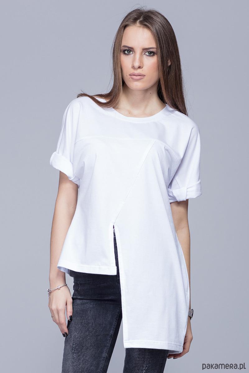 Asymetryczna unikatowa koszulka-biała H014