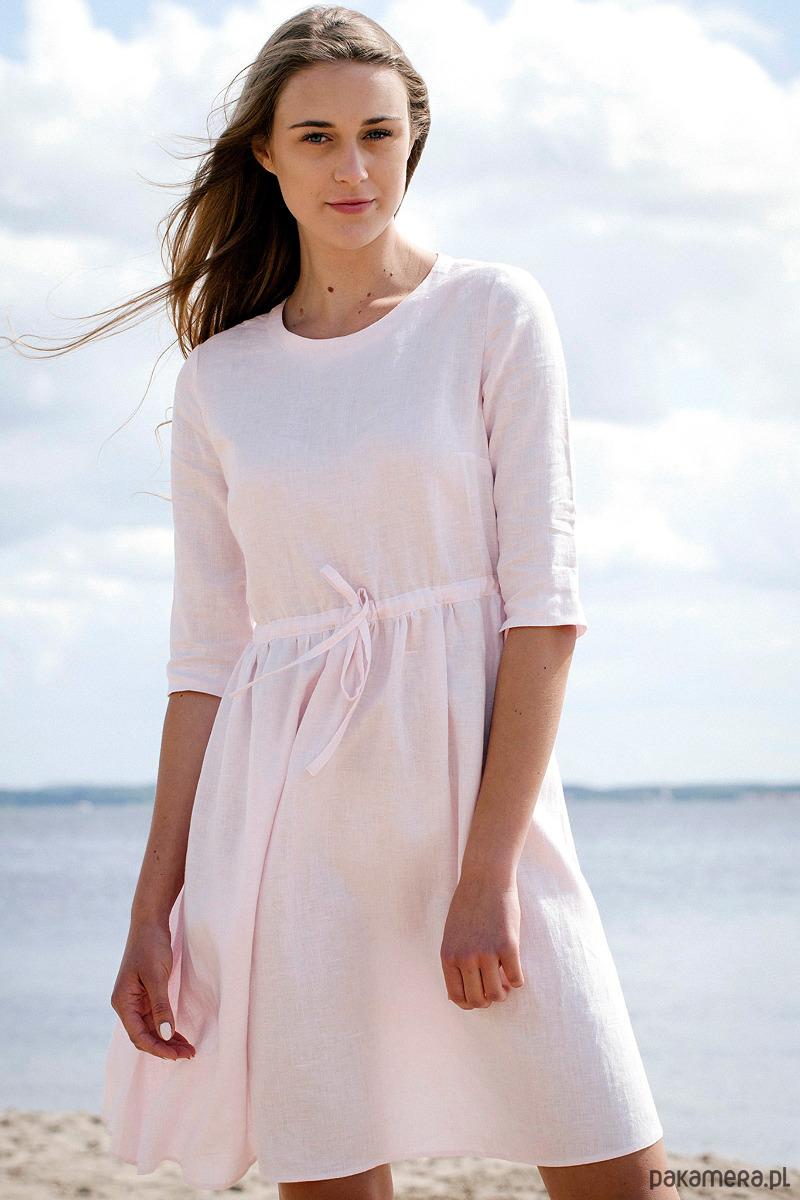 6f6b7952d2589e Eco Lniana Sukienka Liliowa - Moda - sukienki - midi - Pakamera.pl