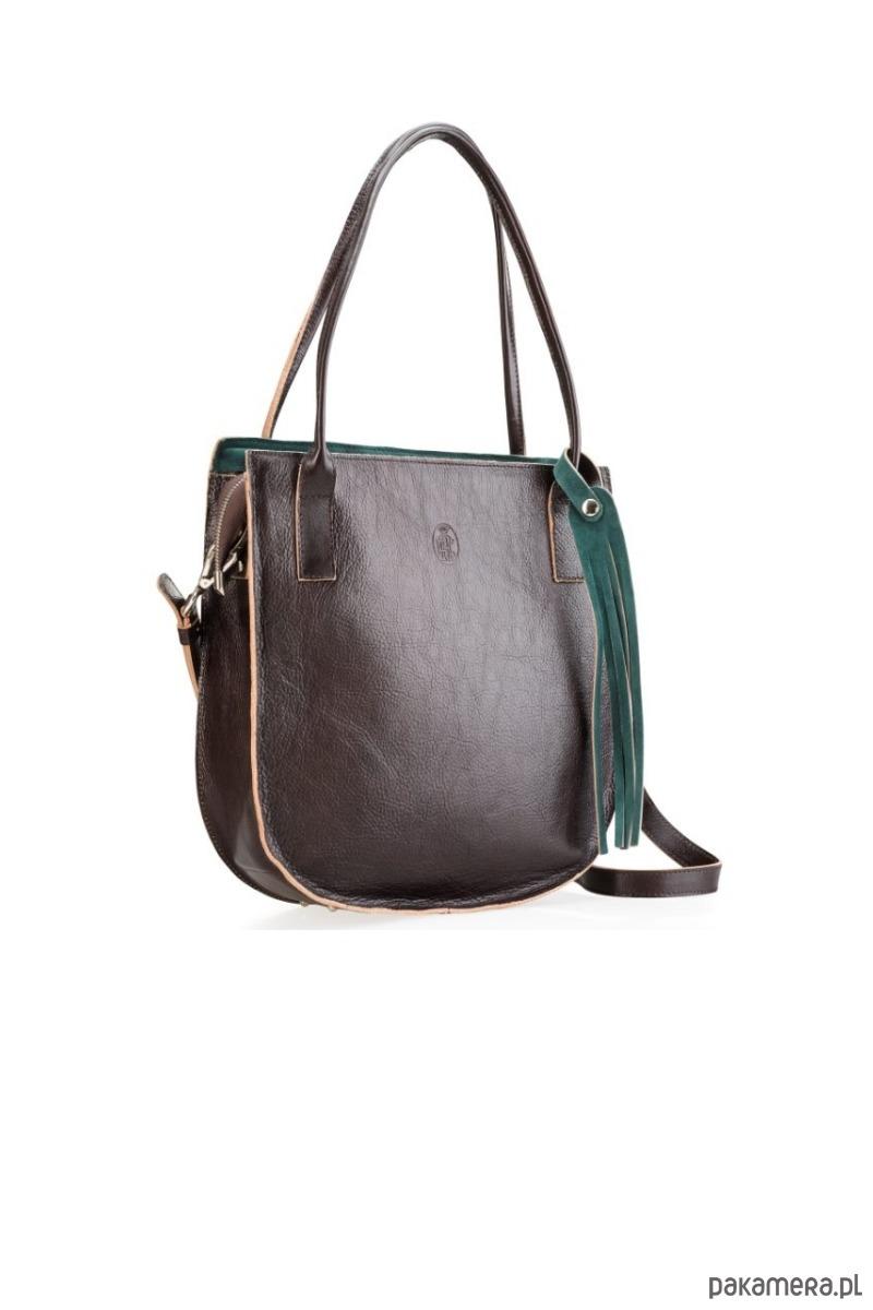 Duża, brązowa skórzana torba damska na ramię