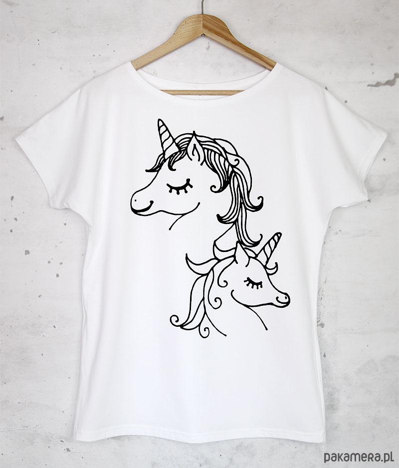 JEDNOROŻCE koszulka bawełniana biała