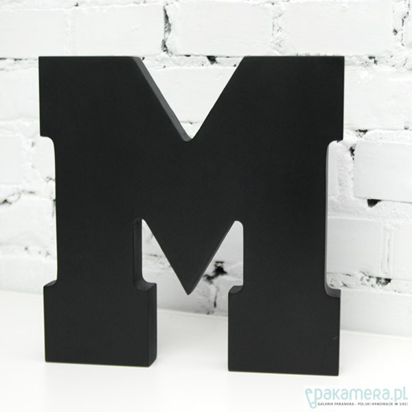M Litera 3d Z Lakierowanego Drewna 35x30cm Dekoracje Różne