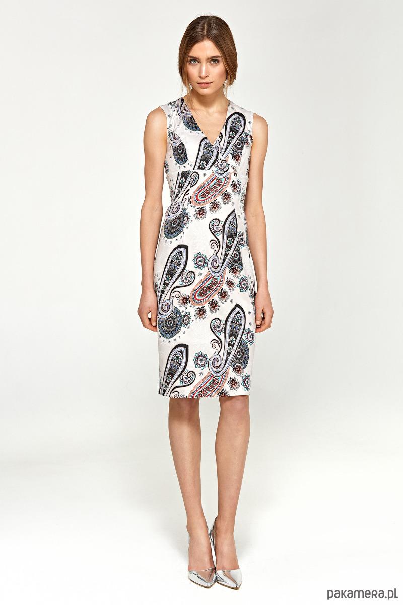 Ołówkowa sukienka z dekoltem V s98 - wzór
