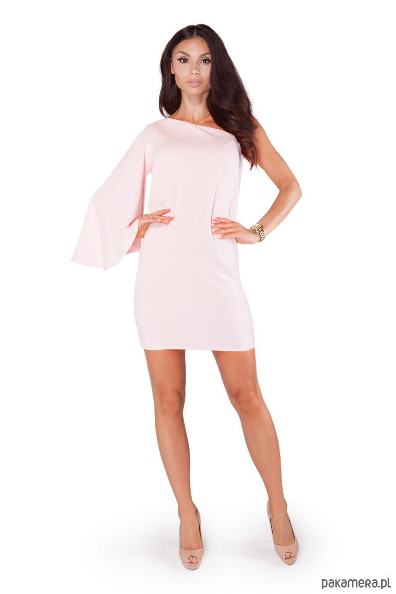 Sukienka S118 PUDROWY RÓŻ