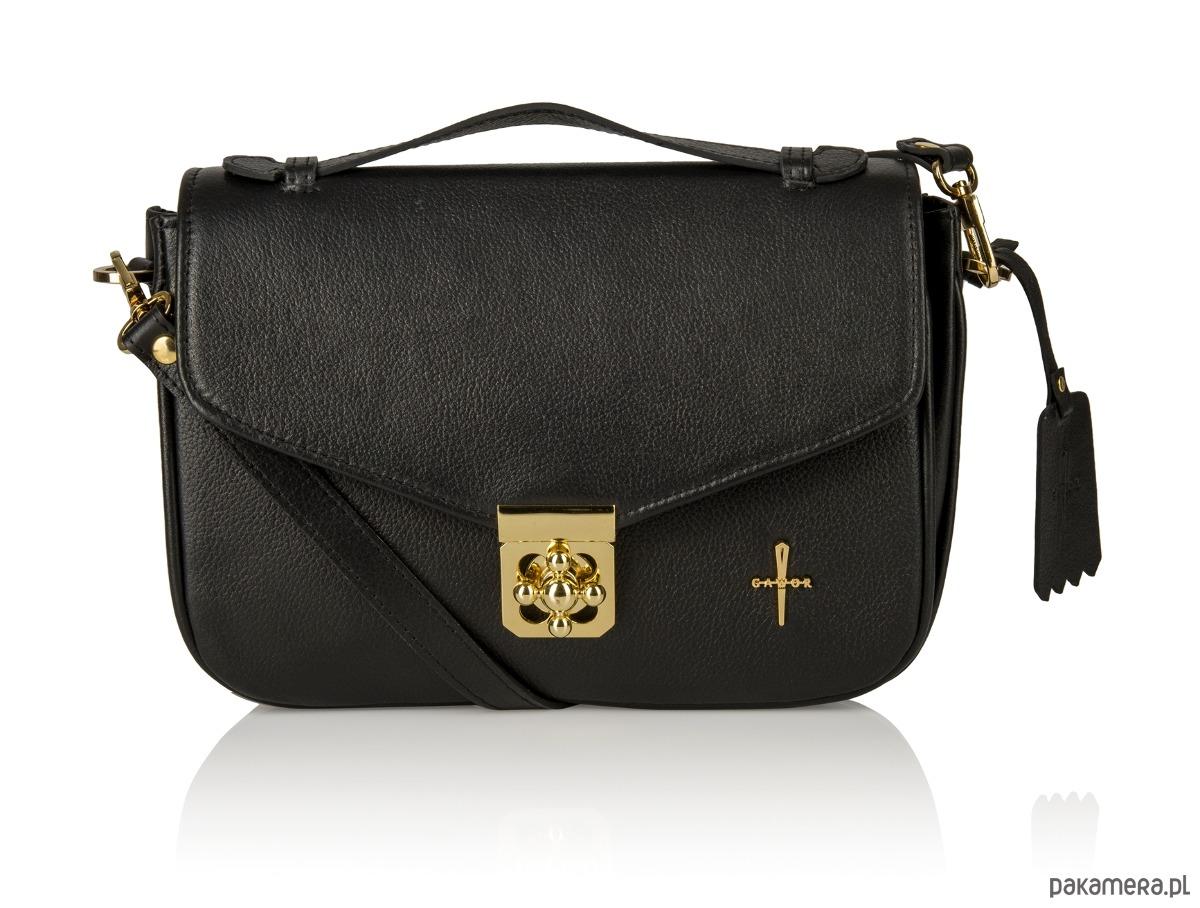 4cda370061085 torby na ramię - damskie-Skórzana torebka czarna złote dodatki Alessandra