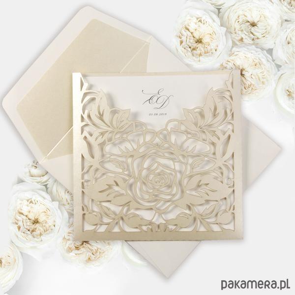 Zaproszenie Ecru Folder Róże Ażurowe Laserowe ślub Zaproszenia