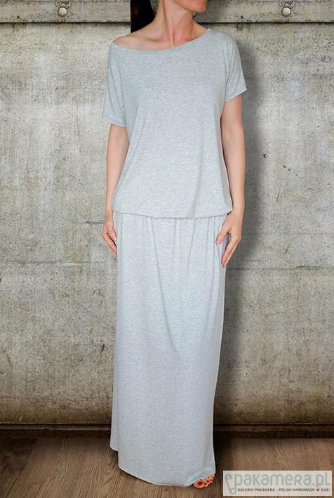 sukienka MAXI z kieszeniami - jasny melanż