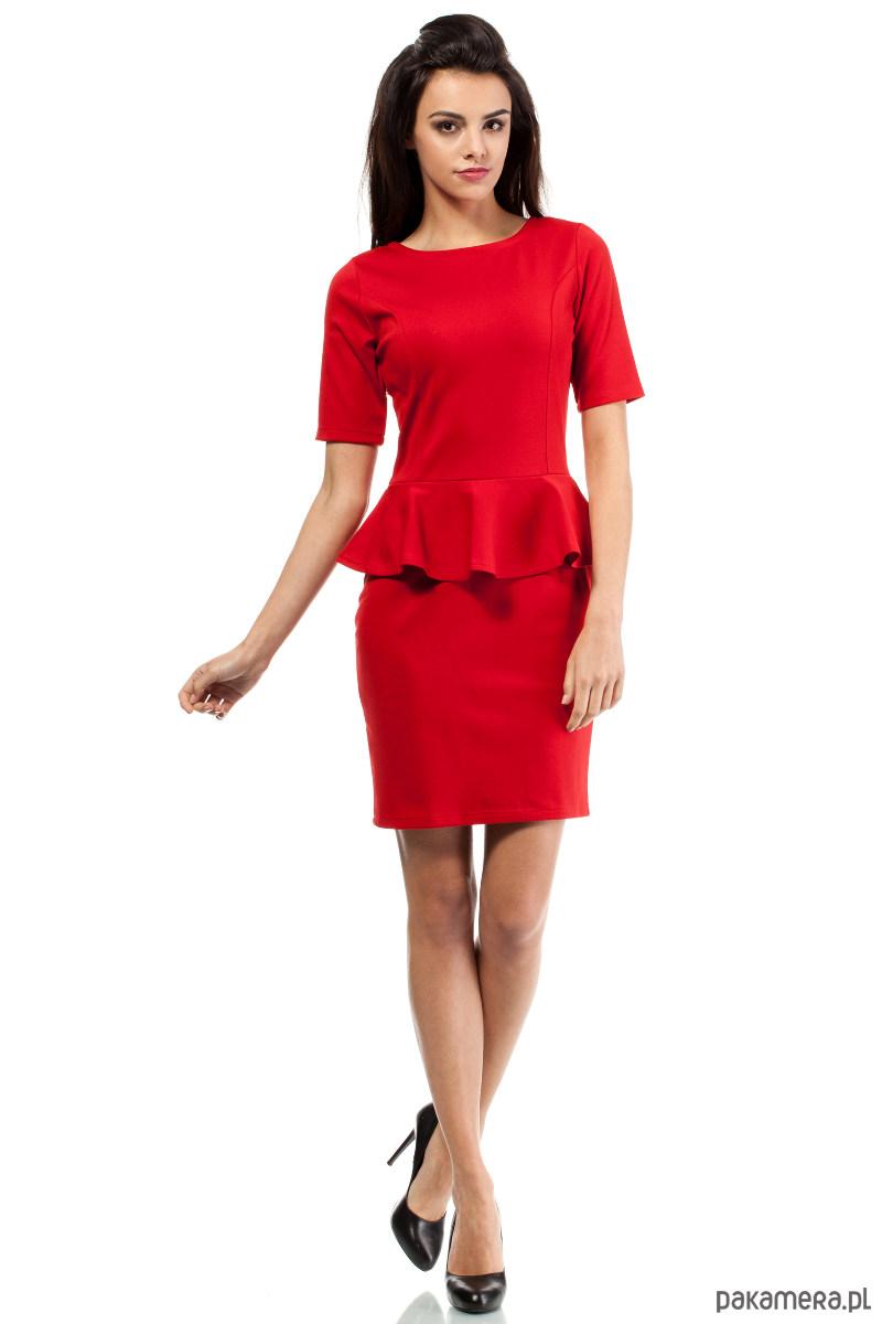 Sukienka ołówkowa z ozdobną baskinką