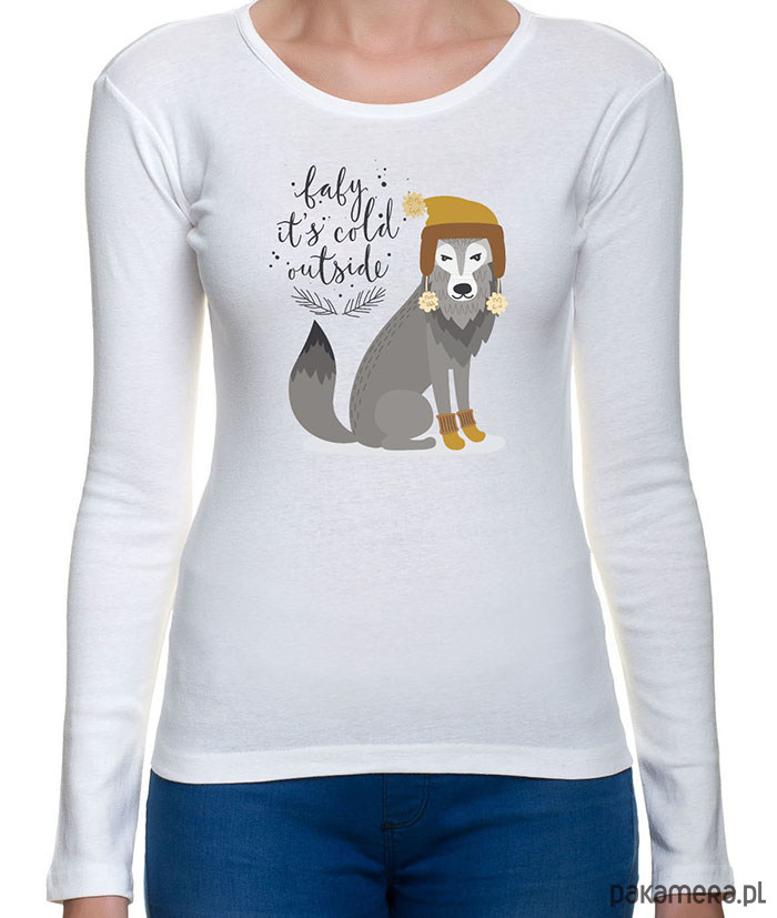 koszulka damska z zimowym wilkiem