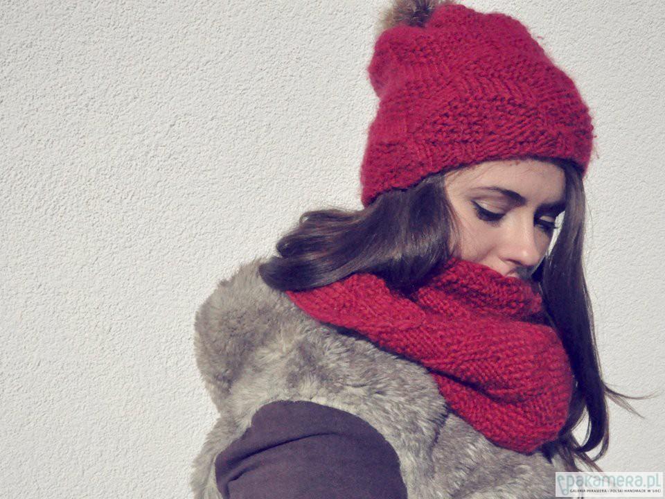 3aabd9b56f224d czapki i kapelusze - damskie-CUBE Red KOMPLET Czapka + Szalik/Tuba 100%
