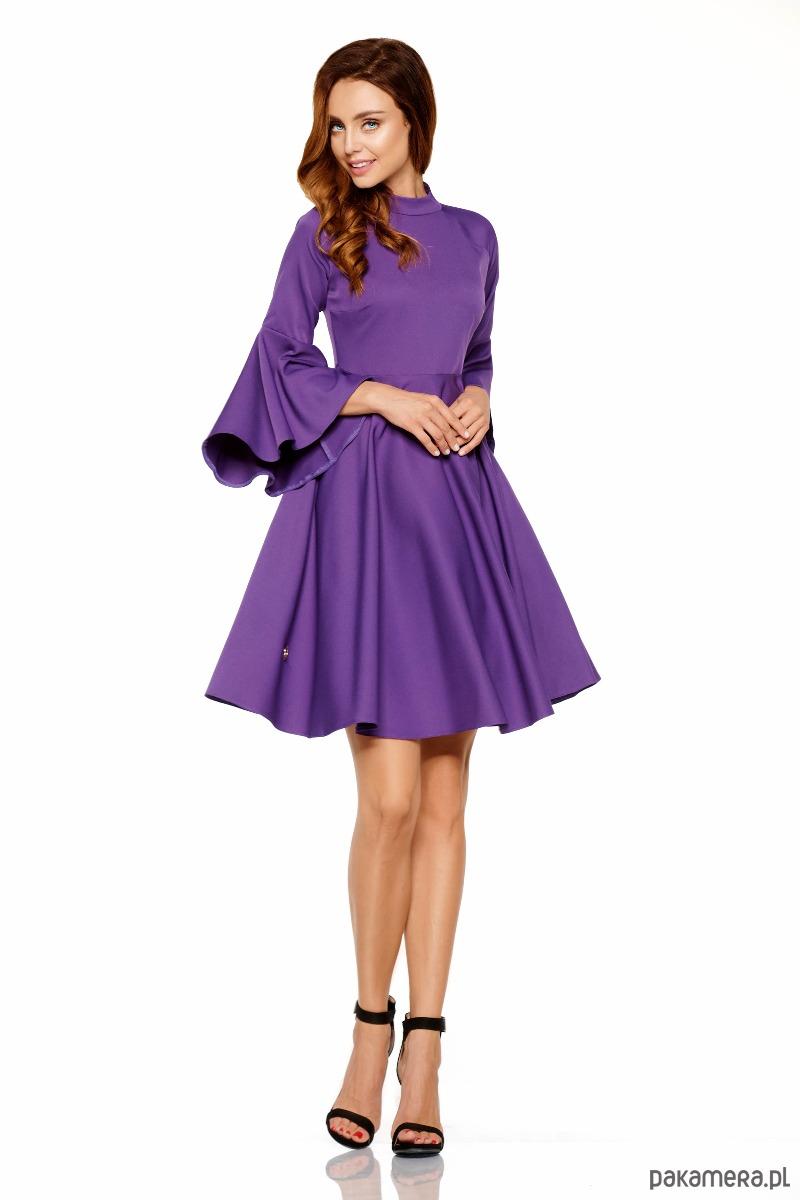 63f3900152 Sukienka z rozszerzanymi rękawami L277 -fiolet - sukienki - różne ...