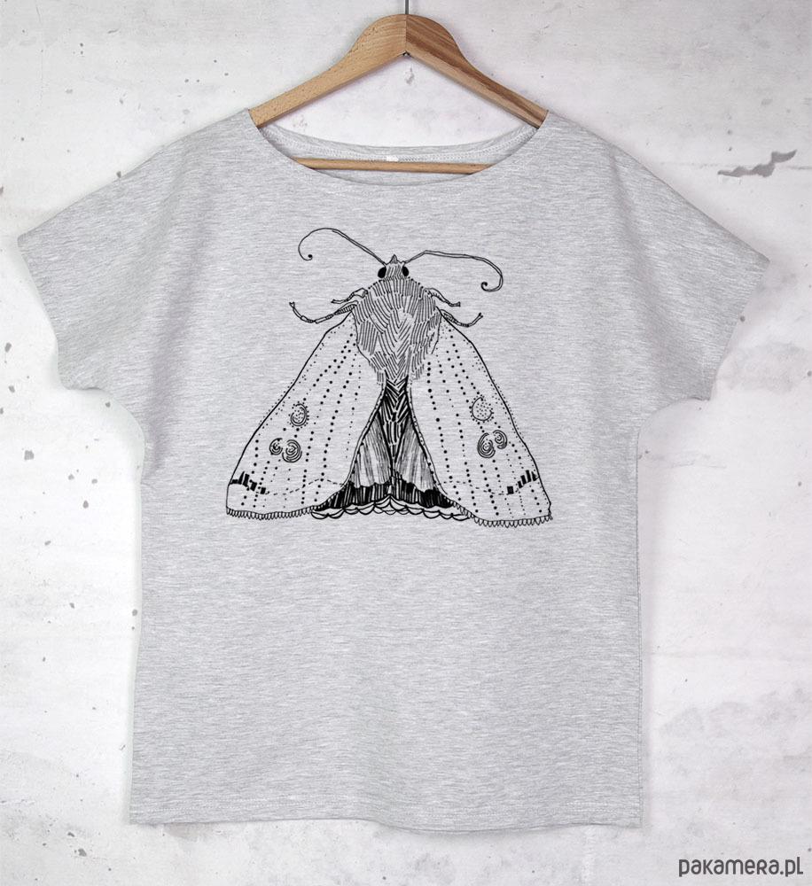 ĆMA koszulka bawełniana szara z nadrukiem