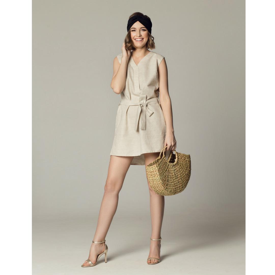 Sukienka lniana Roma beż