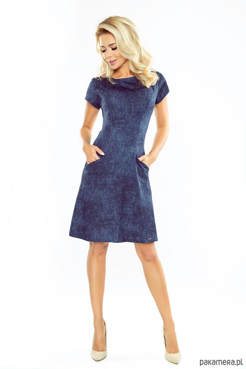 155-2 Sukienka TRAPEZOWA z kieszonkami - JEANS