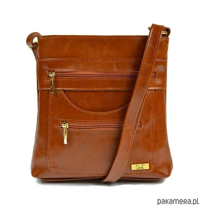 b0ee10e8f73bc Brązowa skórzana torebka na ramię SHE - torby na ramię - damskie -  Pakamera.pl