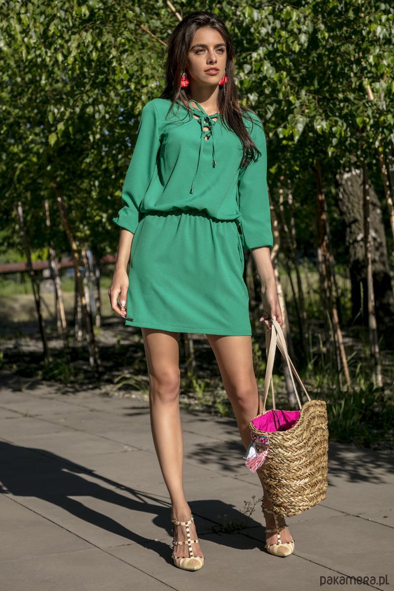 Sukienka koktajlowa zielona F544