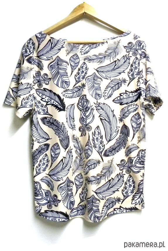 Bluzka damska,t-shirt ze wzorem piórka S-XL