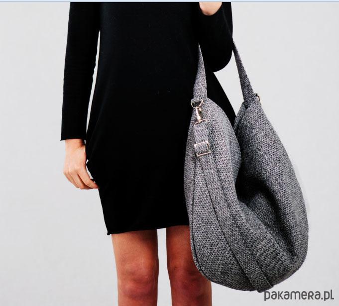 06c9fd7261e88 Szara torba w kształcie worka na co dzień - torby na ramię - damskie ...