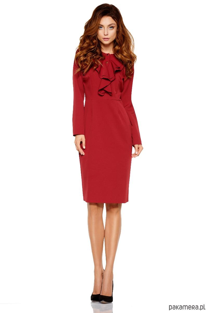 c28791acc5 Sukienka biznesowa z żabotem L270 - bordo - sukienki - różne ...