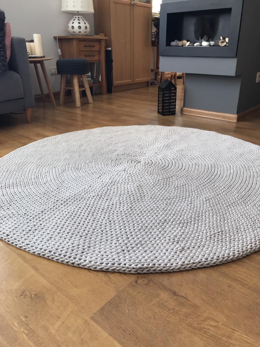 Okrągły dziergany dywan BASIC 140 cm