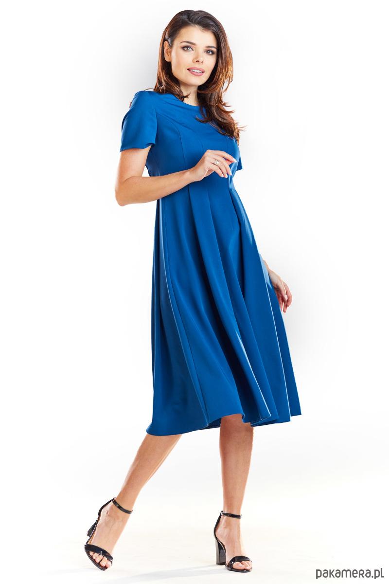 ed583cafc3 Rozkloszowana sukienka błękit paryski B253 - sukienki - midi ...