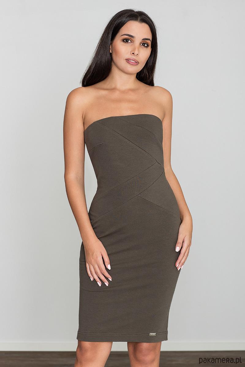 Sukienka dopasowana mini m575 oliwka