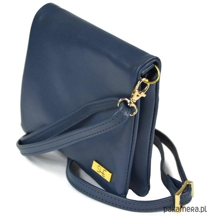 f1311021e0246 Granatowa mała skórzana listonoszka SHE - torby na ramię - damskie ...