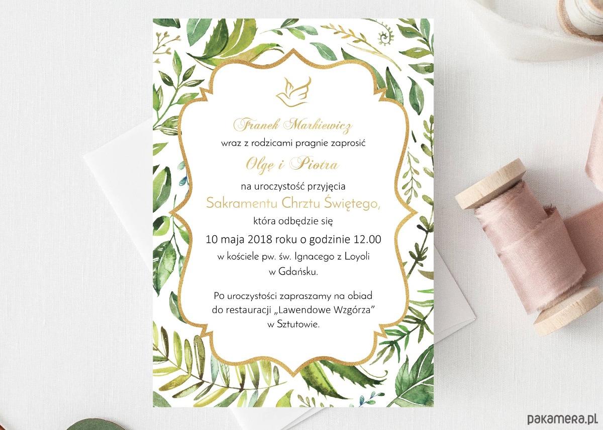 Zaproszenie Chrzest Urodziny Gęste Liście Chrzest Kartki