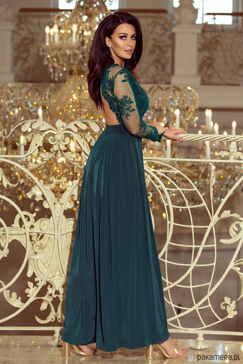 08f93894b2 213-1 ARATI długa suknia z haftowanym dekoltem - sukienki - maxi ...