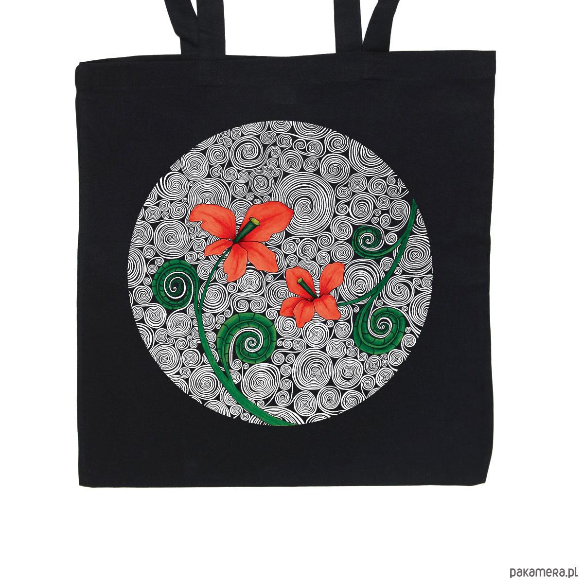 cafa4a7eb6011 Czerwone kwiaty - torba bawełniana czarna - torby na zakupy - unisex -  Pakamera.pl