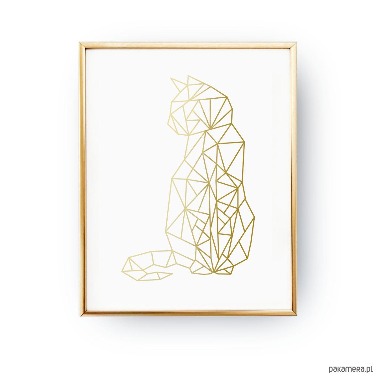 Geometryczny Kot Złota Folia Plakaty Pakamerapl